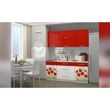 Кухня 1.8 МДФ фотопечать Маки